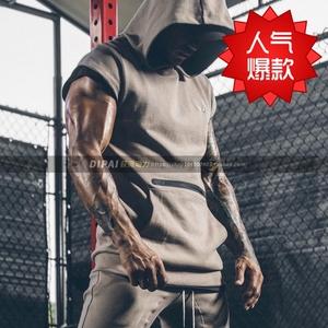 肌肉健身衣运动训练服型男兄弟连帽套头帽衫卫衣马甲上衣无袖跑步