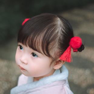兒童毛球流蘇髮夾頭飾女童寶寶小女孩髮卡中國風古風古裝唐裝髮飾