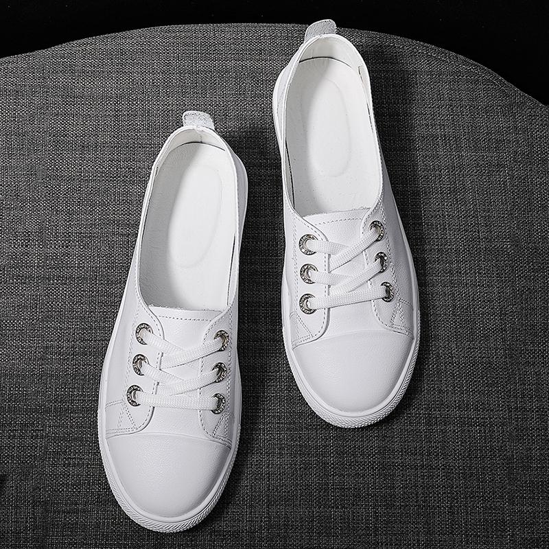 头层牛皮小白鞋子女百搭ins潮2021年新款韩版平底休闲鞋浅口单鞋