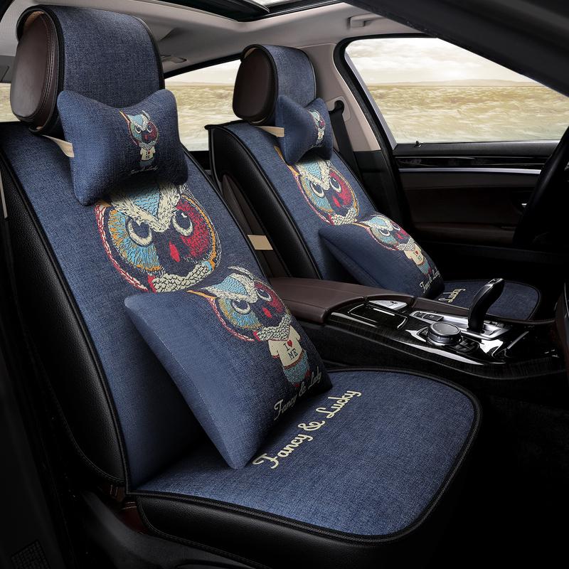 夏季亚麻汽车坐垫大众波罗Polo宝来迈速腾朗逸捷达四季全包座套潮