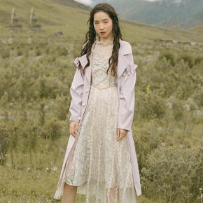 彼得潘大叔《秋与秘密》浅紫色格纹大翻领宽松中长款风衣外套女