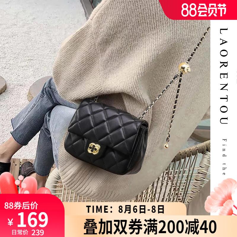 方胖子小金球链条包包女2021新款潮夏季时尚小香风菱格单肩斜挎包