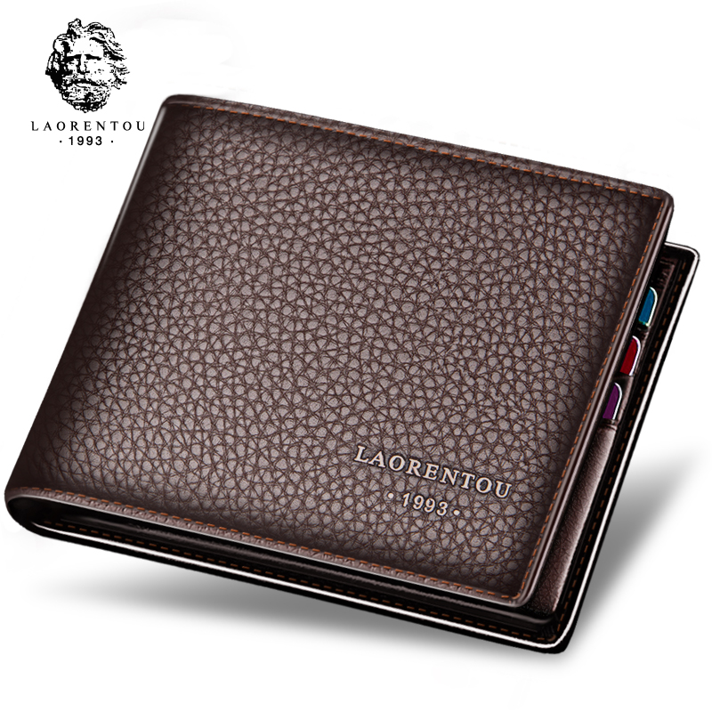 Mens real leather bag mens wallet short 2020 new local youth leisure drivers license Soft Leather Business Wallet