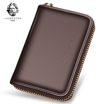 Old man head card bag male leather multifunctional wallet simple large capacity womens 0 wallets Multi-card Small card pack