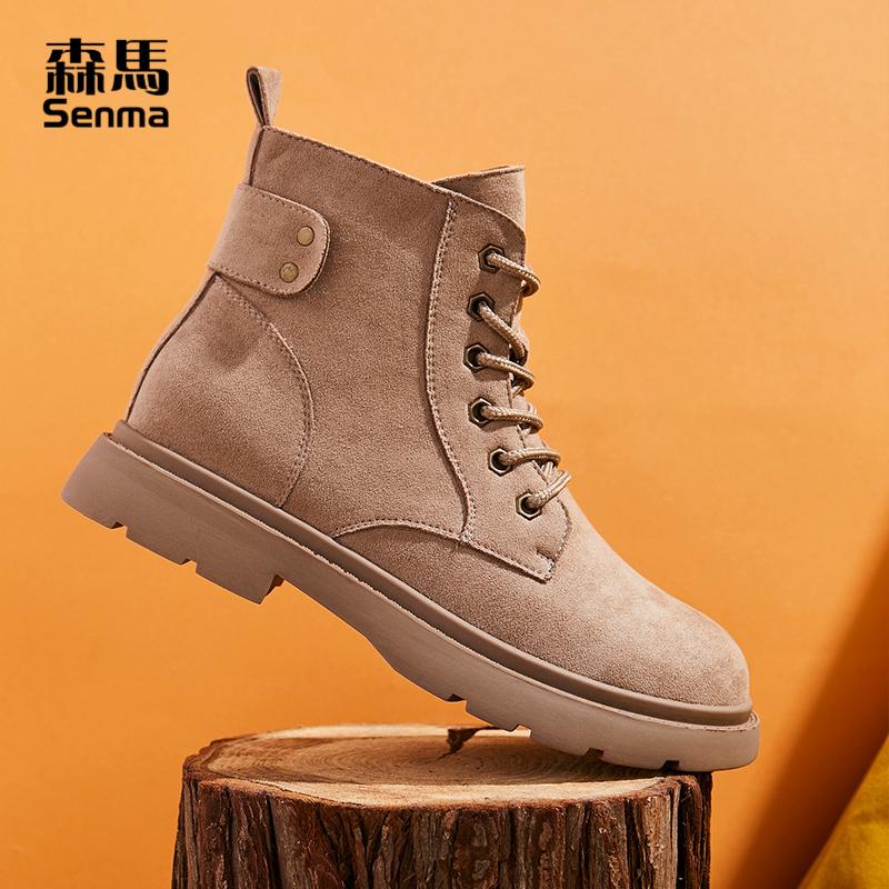 森马高邦马丁靴女酷帅气秋冬季休闲英伦风潮鞋厚底复古高帮机车靴