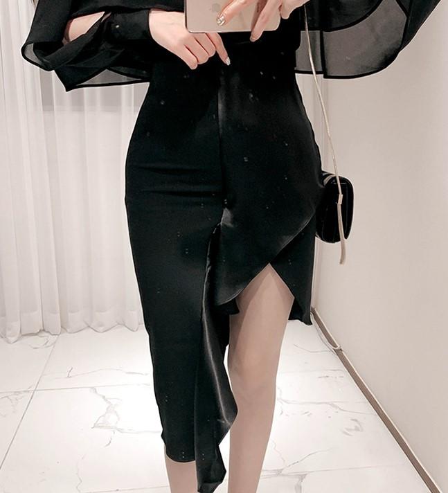 韩国代购浪漫轻熟摇曳风情女人味不等式裹身包臀郁金香拼接半裙