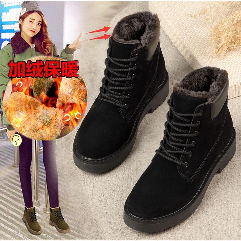 30雪地靴女款加厚靴子女平底学生韩版棉鞋女冬季加绒短靴2020新款