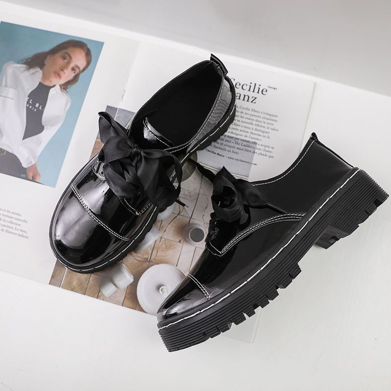 42P小皮鞋女英伦风黑色复古春季新款韩版百搭学生厚底休闲单鞋子