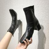 方头粗跟短靴女春秋单靴软皮瘦瘦靴子女2020新款韩版马丁靴女高跟