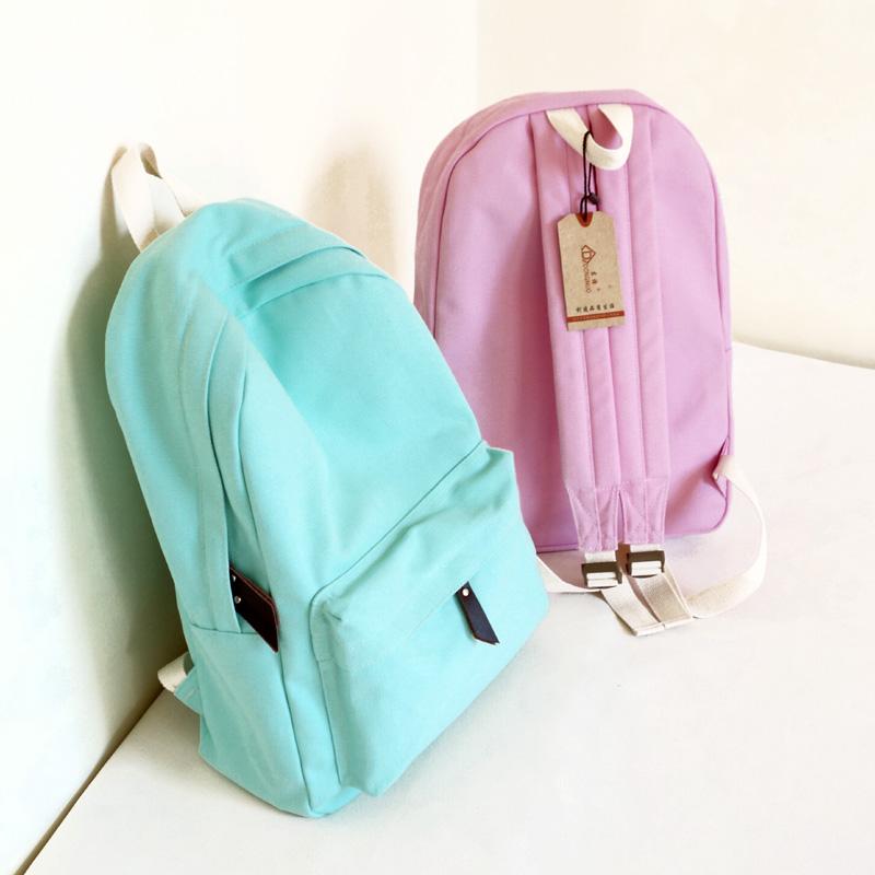 Оригинальная один чистый цвет простой отдых ретро рюкзак рюкзак сумка для девочек и мальчиков
