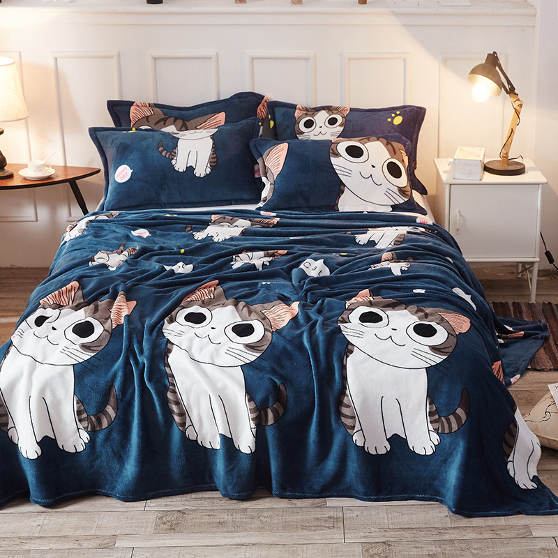 Autumn and winter flannel bed sheet Plush quilt sheet plush cartoon coral blanket bed sheet single double blanket