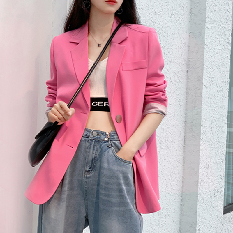 Pink small suit outside women 2021 spring new net red fried street casual temperament loose thin section suits