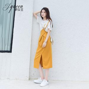 黄色半身裙女夏季新款韩版气质法式高腰中长款不规则开叉背带裙子
