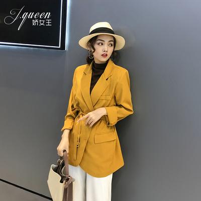 黄色小西装女外套春秋2020新款韩版宽松chic收腰中长款网红小西服
