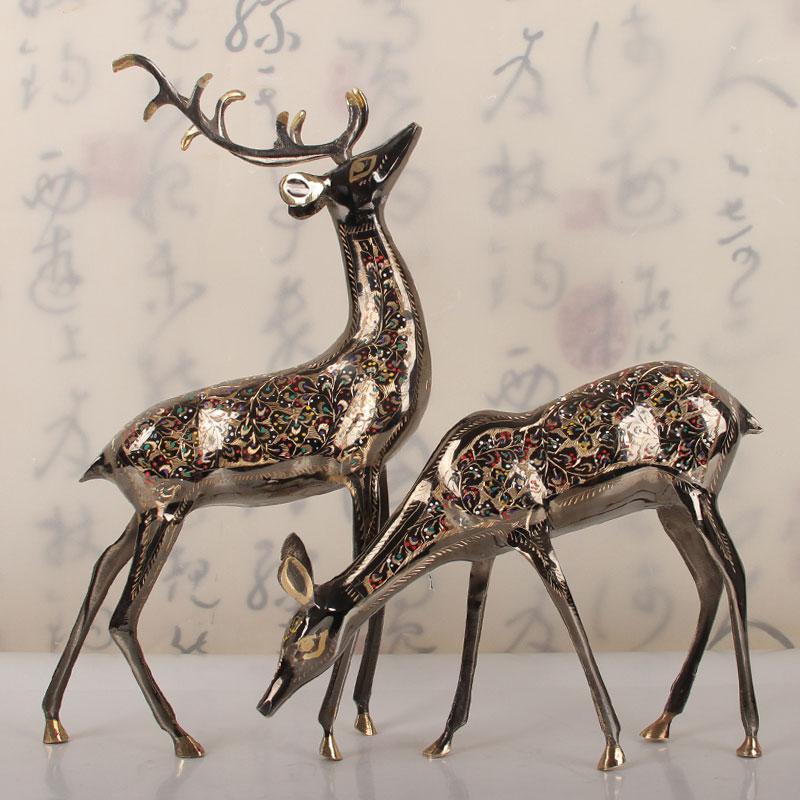 16寸艾力彩点对鹿 巴基斯坦铜器 一鹿有你手工艺品 雕刻 进口包邮