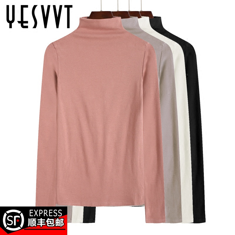 Women's bottoming shirt with autumn and winter half high neck long sleeve slim black t-shirt cotton white western style plus velvet padded top