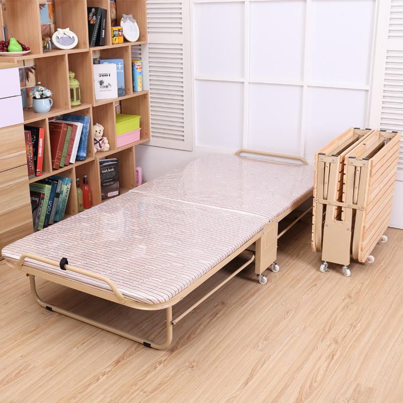 午休折叠床单人双人办公室家用午睡实木硬木小床简易出租房移动床