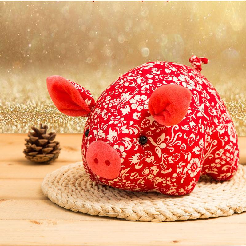 猪年吉祥物公仔波波娃2019定制生肖猪可爱布娃娃小猪玩偶毛绒玩具