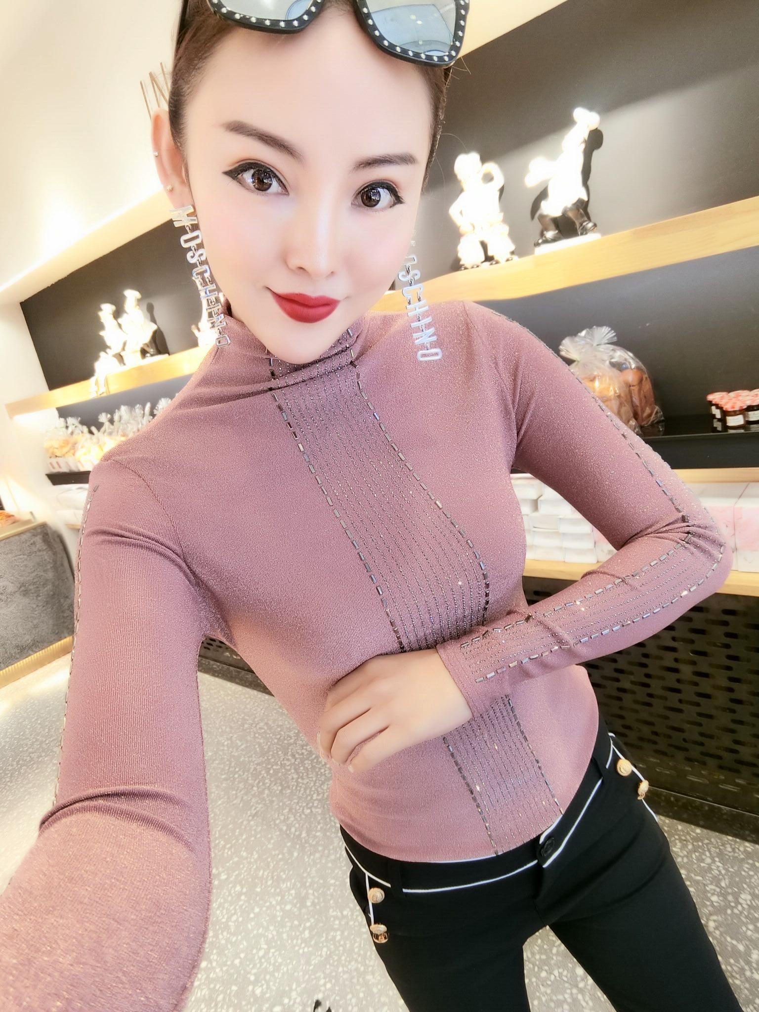 2019秋季半高领t恤女韩版时尚修身长袖小衫精品弹力百搭女装文艺