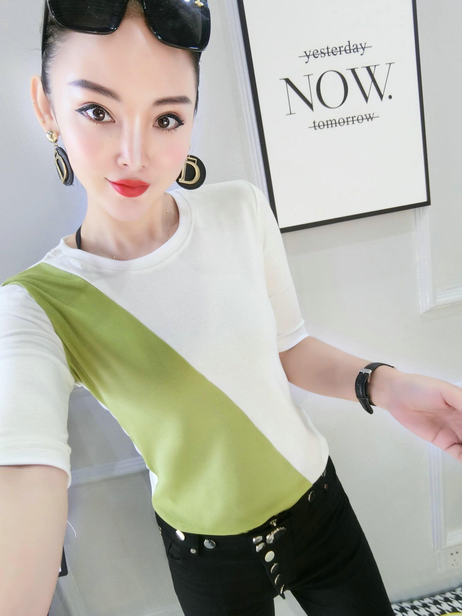 短袖t恤女2020年夏季时尚螺纹棉小衫精品修身显瘦拼色棉T百搭新款