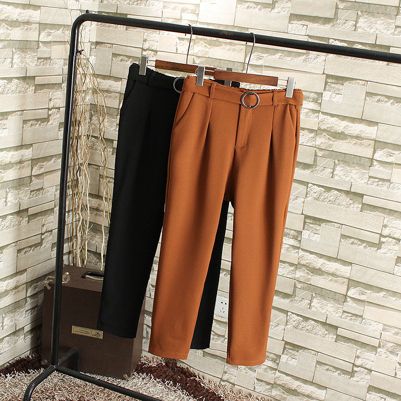 Round button high waist small straight tube Harun retro casual suit pants nine point long pants fat mm spring oversize womens wear