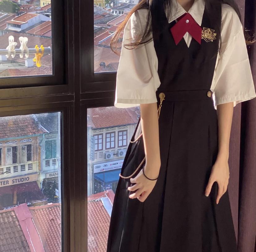 正统护奶裙套装日系JK制服衬衫百褶裙正版学生卡奶裙学院风连衣裙
