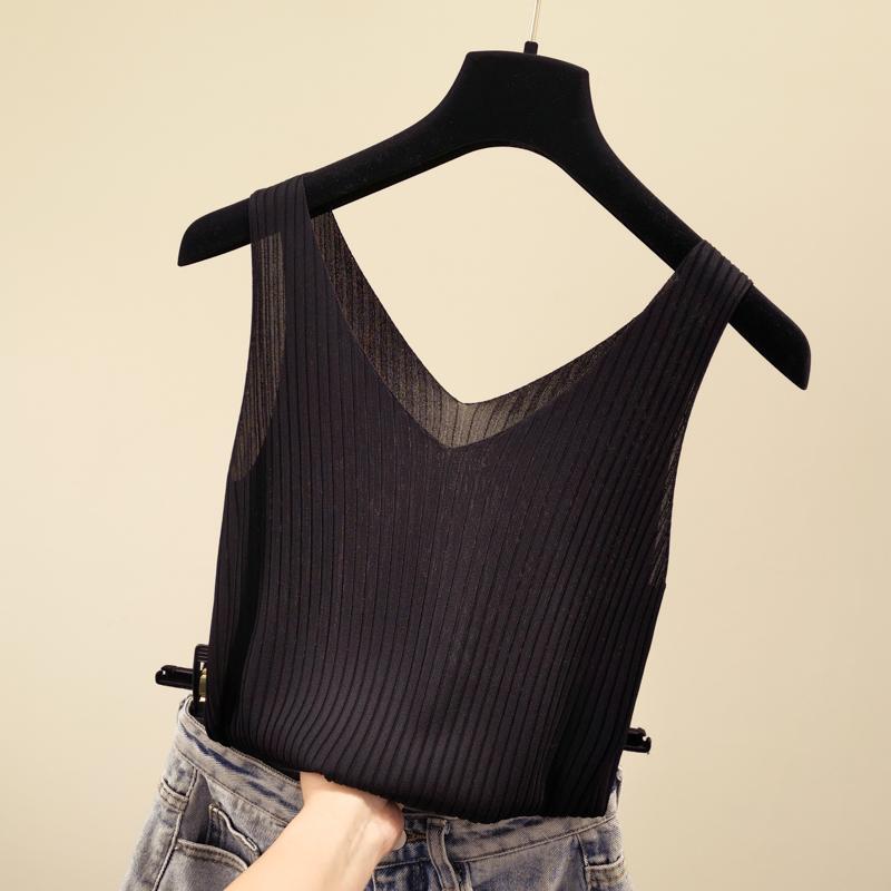 夏季新款v领无袖冰丝针织小吊带背心女修身百搭外穿内搭打底上衣