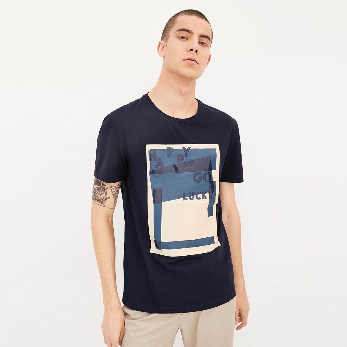 JackJones杰克琼斯男装纯棉胶印短袖T恤E|217301521