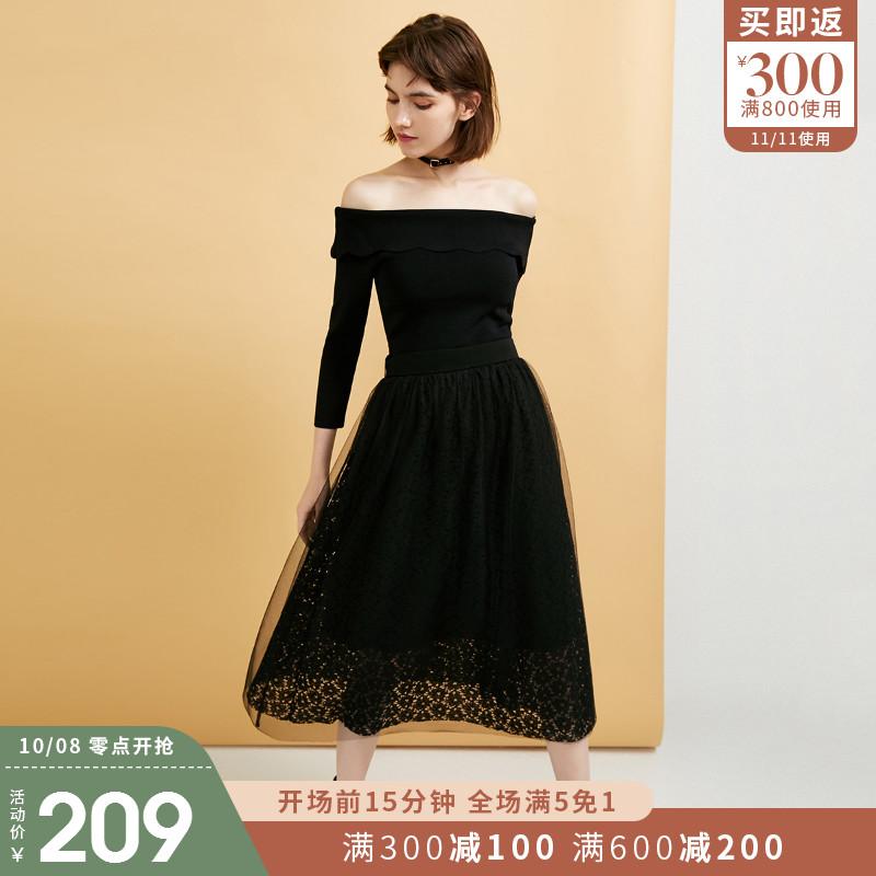 [聚]ONLY初秋新款复古很仙女一字领连衣裙女11834652911月06日最新优惠