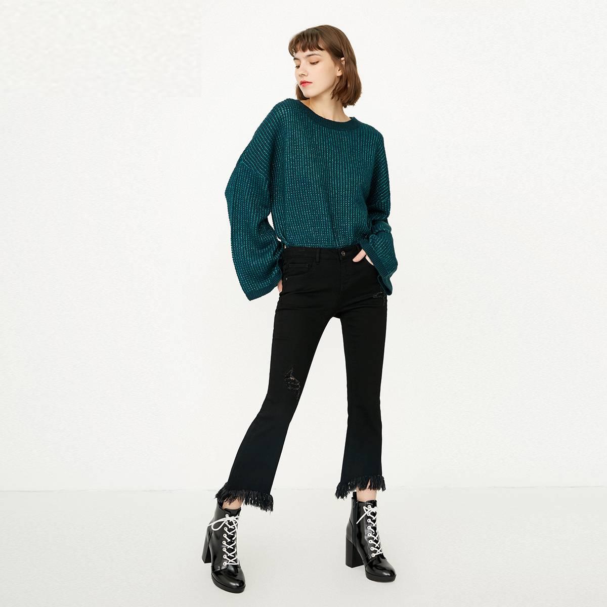 [热销]ONLY春季新款深色低腰毛边喇叭磨破九分牛仔裤女 119149549
