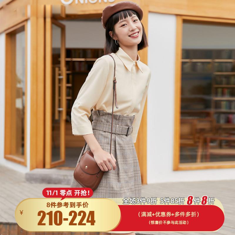 绫致Vero Moda秋冬真两件格纹半身裙两件套衬衫式连衣裙32047C009