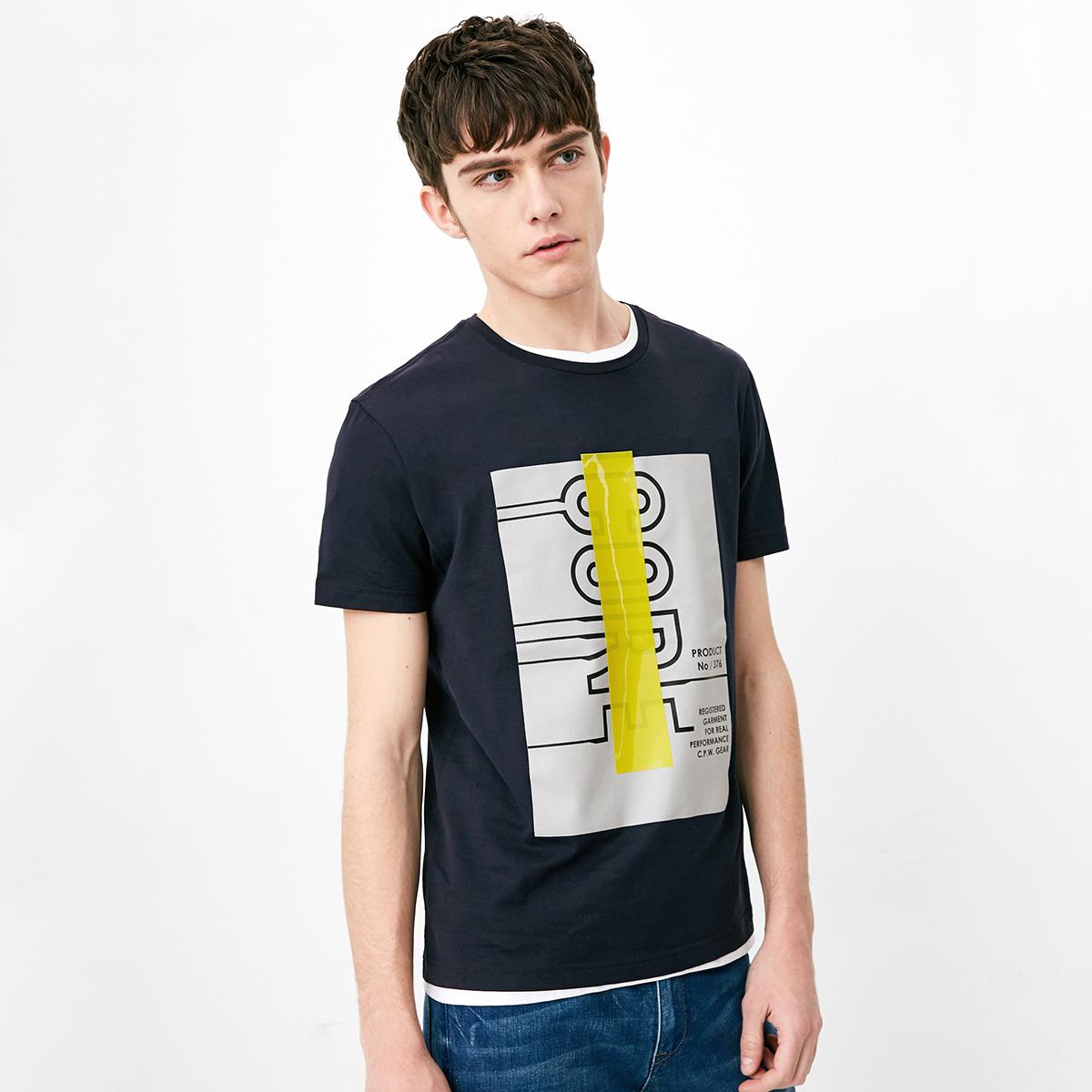 JackJones杰克琼斯男装纯棉字母胶印短袖T恤S 217101568