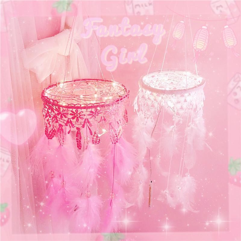 梦幻吊坠珠珠蕾丝灯光捕梦网挂件房间少女心礼物挂件装饰捕梦网