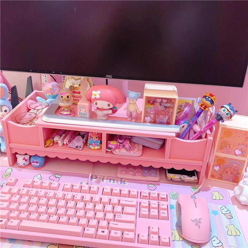 粉色少女心桌面花边电脑置物架收纳架笔记本桌子整理学生收纳架