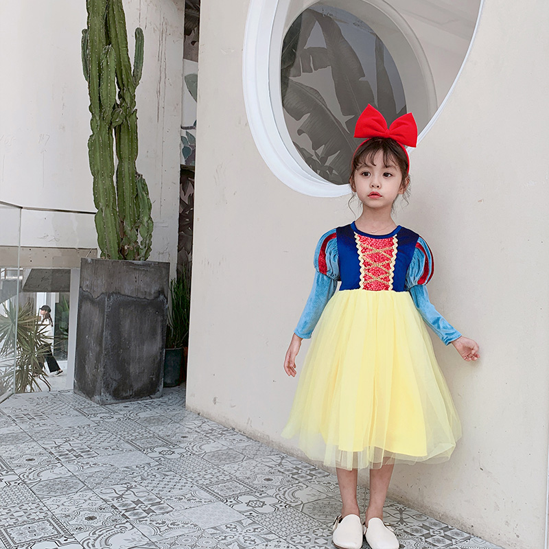 Children's dress girl's dress spring snow white princess skirt pengpeng yarn super fairy baby ice snow edge children's skirt 2