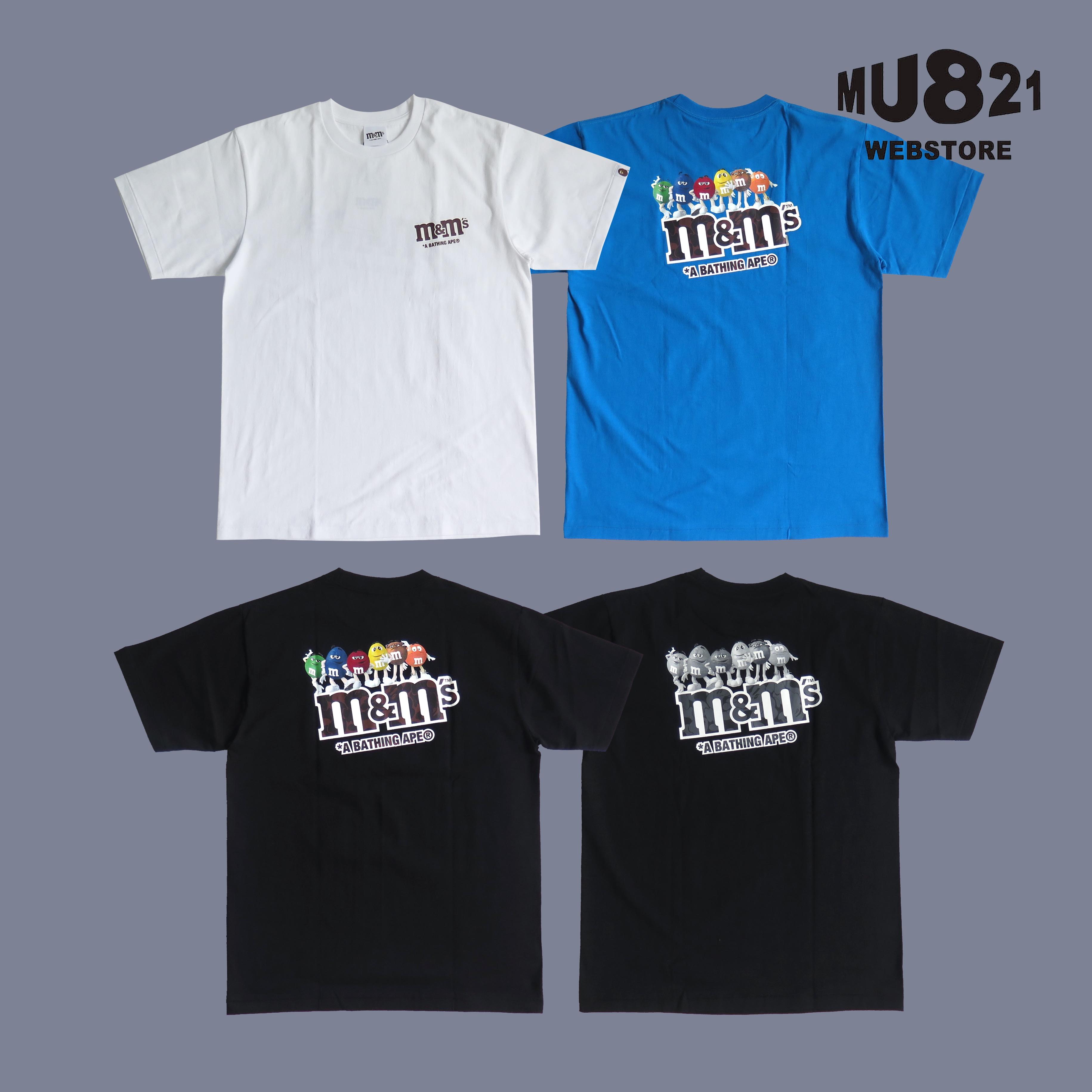 MU821现货 BAPE M&MS MONOTONE TEE 背后MM豆彩虹豆全家福短袖T恤