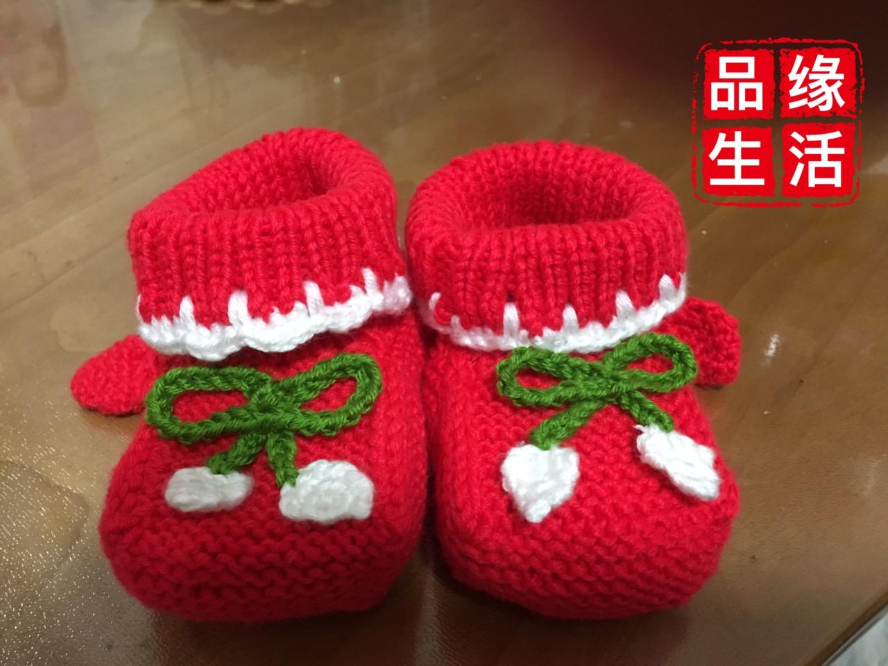 Детская обувь на младенца башмак красный Сапоги чистые ручная работа вязанные GZBH5