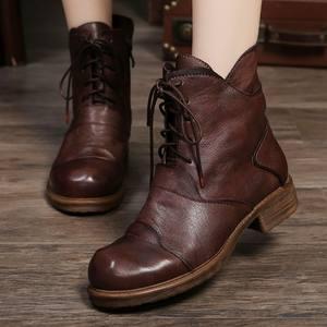 2019春秋复古手工真皮马丁靴女英伦平底低跟舒适系带侧拉链短靴子