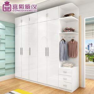 三门四门五门六门简约板式衣柜平开门烤漆整体大衣橱组合衣柜卧室