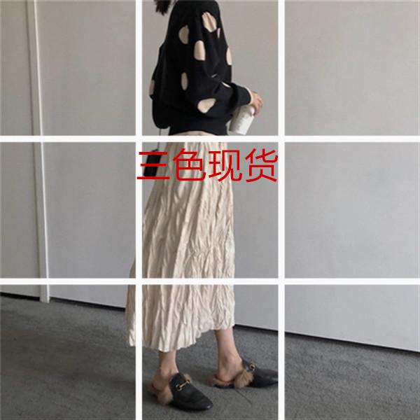 2018秋冬新款韩版麂皮绒半身裙女纯色百搭中长款高腰褶皱a字裙子