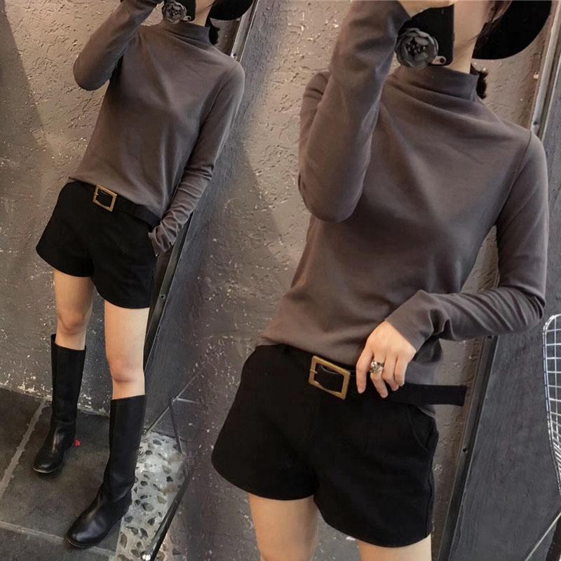 韩版新款半高领打底衫磨毛长袖女装t恤纯色秋冬百搭修身显瘦上衣