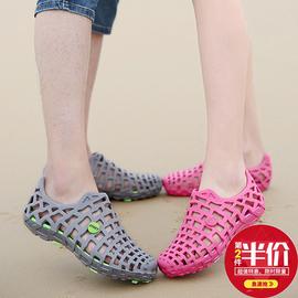 海边沙滩洞洞鞋女2020夏新款韩版平底包头镂空情侣款大码果冻凉鞋图片