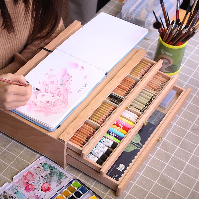中盛画材 榉木抽屉木质画架画盒桌面油画箱素描彩铅收纳盒画画画板画架套装支架式素描写生画板美术艺考工具