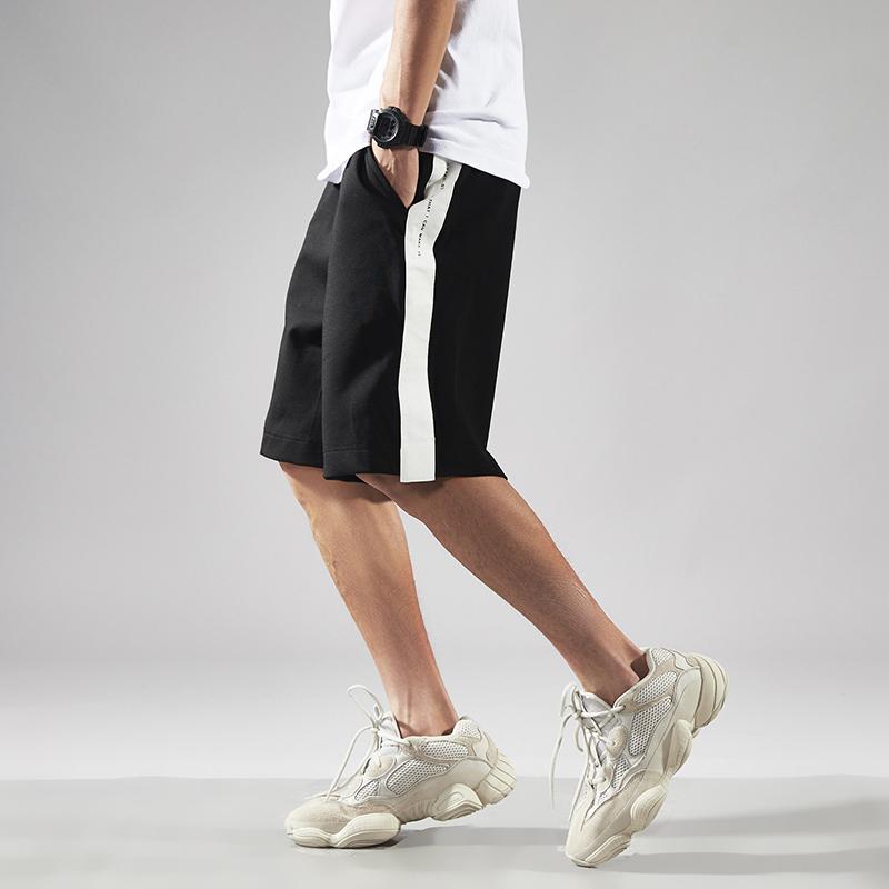 七号宇宙夏季原创美式复古潮流运动风字母印花一条杠宽松短裤男潮68.00元包邮