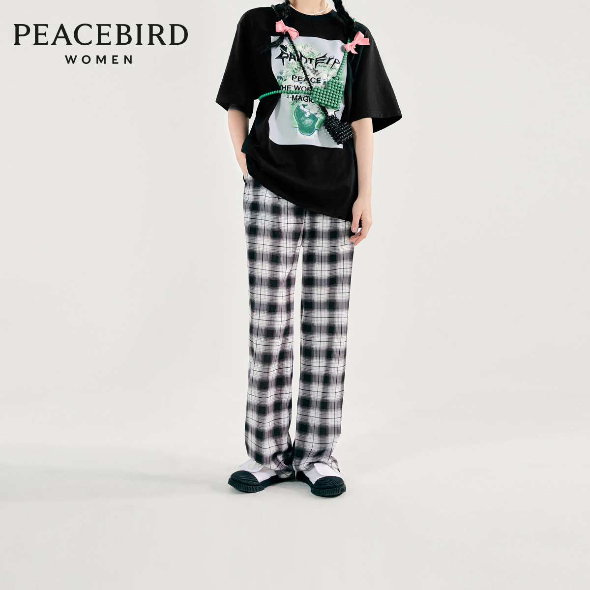 Taiping bird wide legs female high waist performance 2021 summer new plaid straight wide leg trousers female casual pants