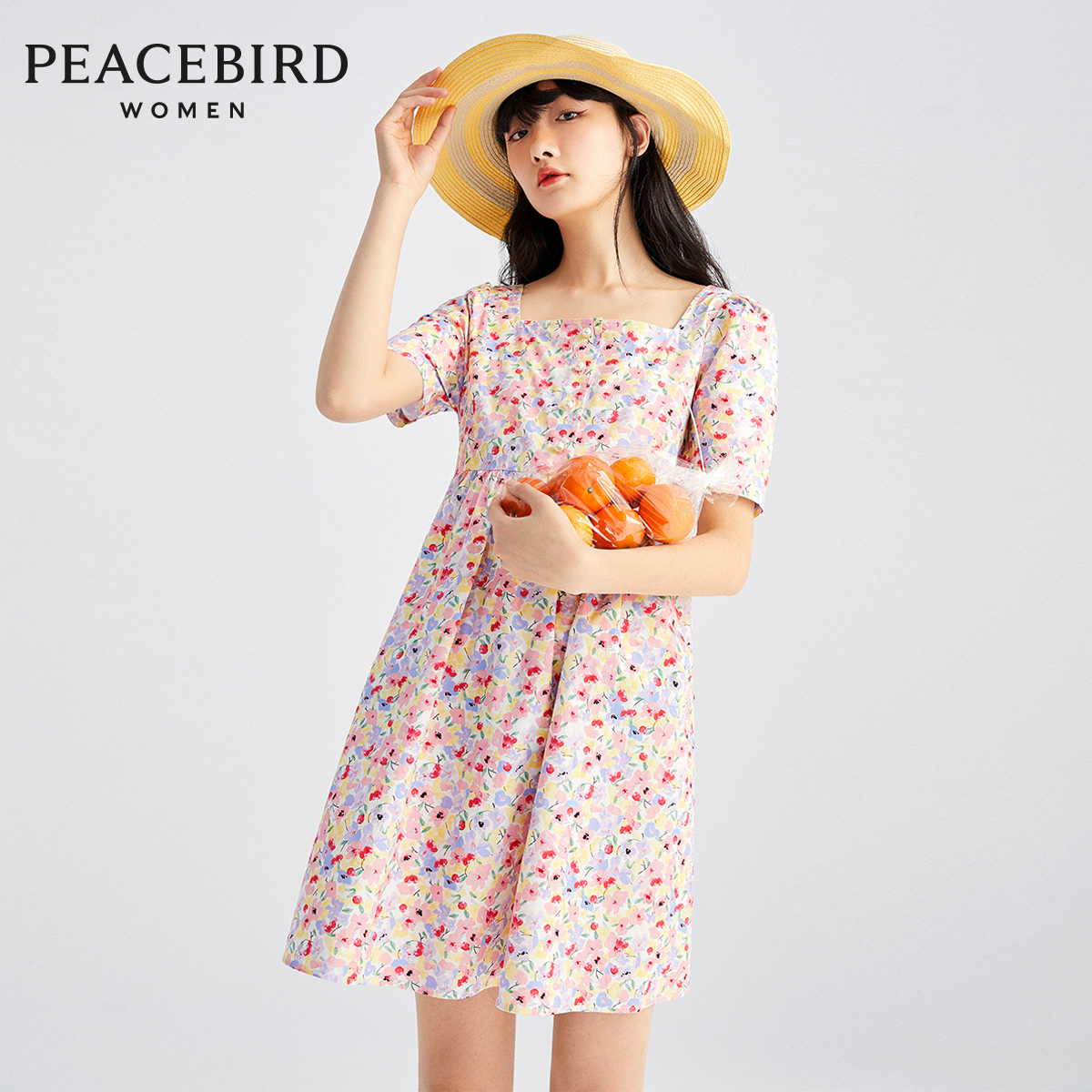 Taiping bird flower flower square collar doll skirt women's new relaxed short sleeve short skirt in spring and summer 2020 youth dress