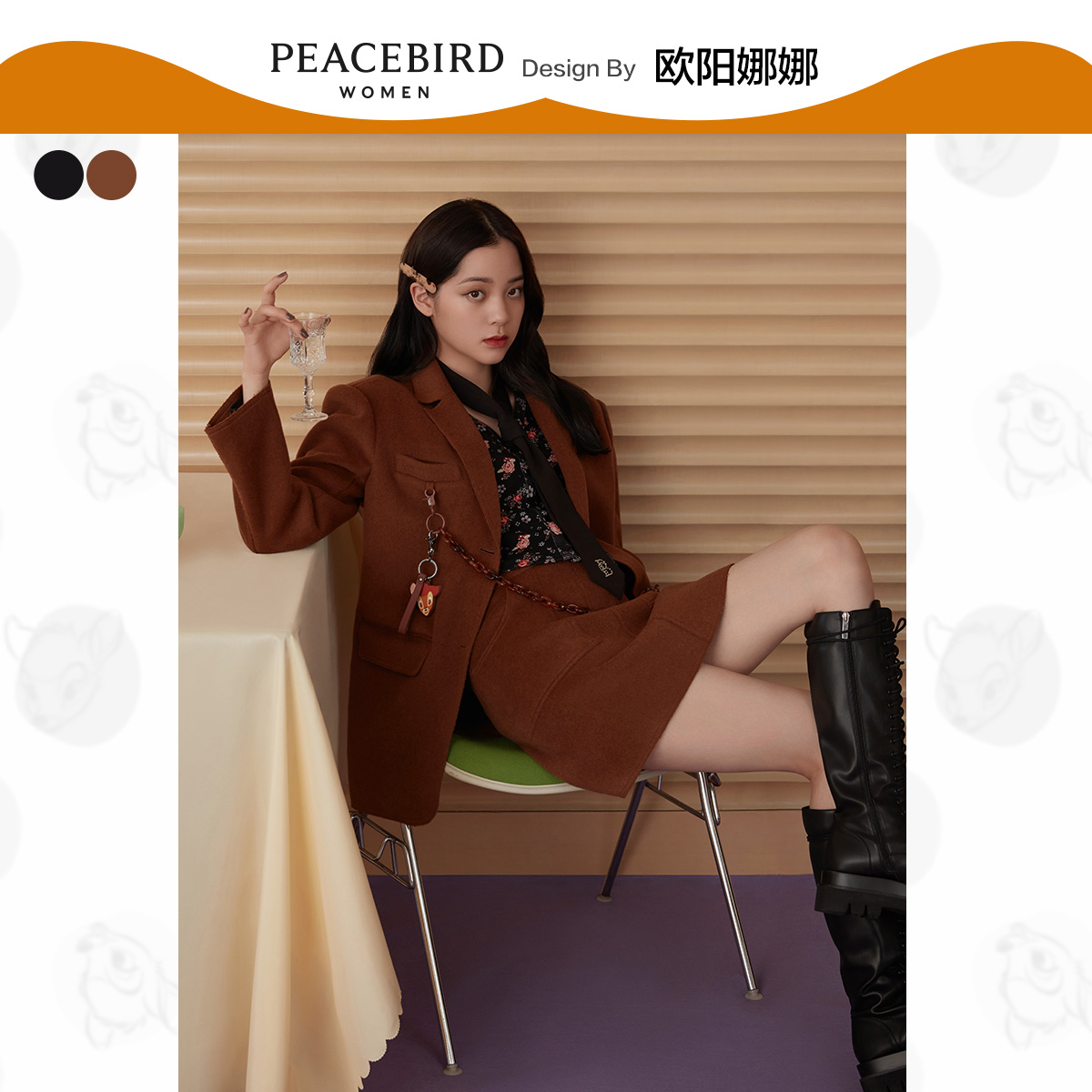 The live broadcast room is exclusive to kill Peacebird Ouyang Nana with the same suit and double-sided woolen coat 2020 new