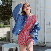 Red Printed Dress Female Spring 2019 New Hollow-out Tie with Received Waist Joint Shorts Female Taiping Bird Female Dress