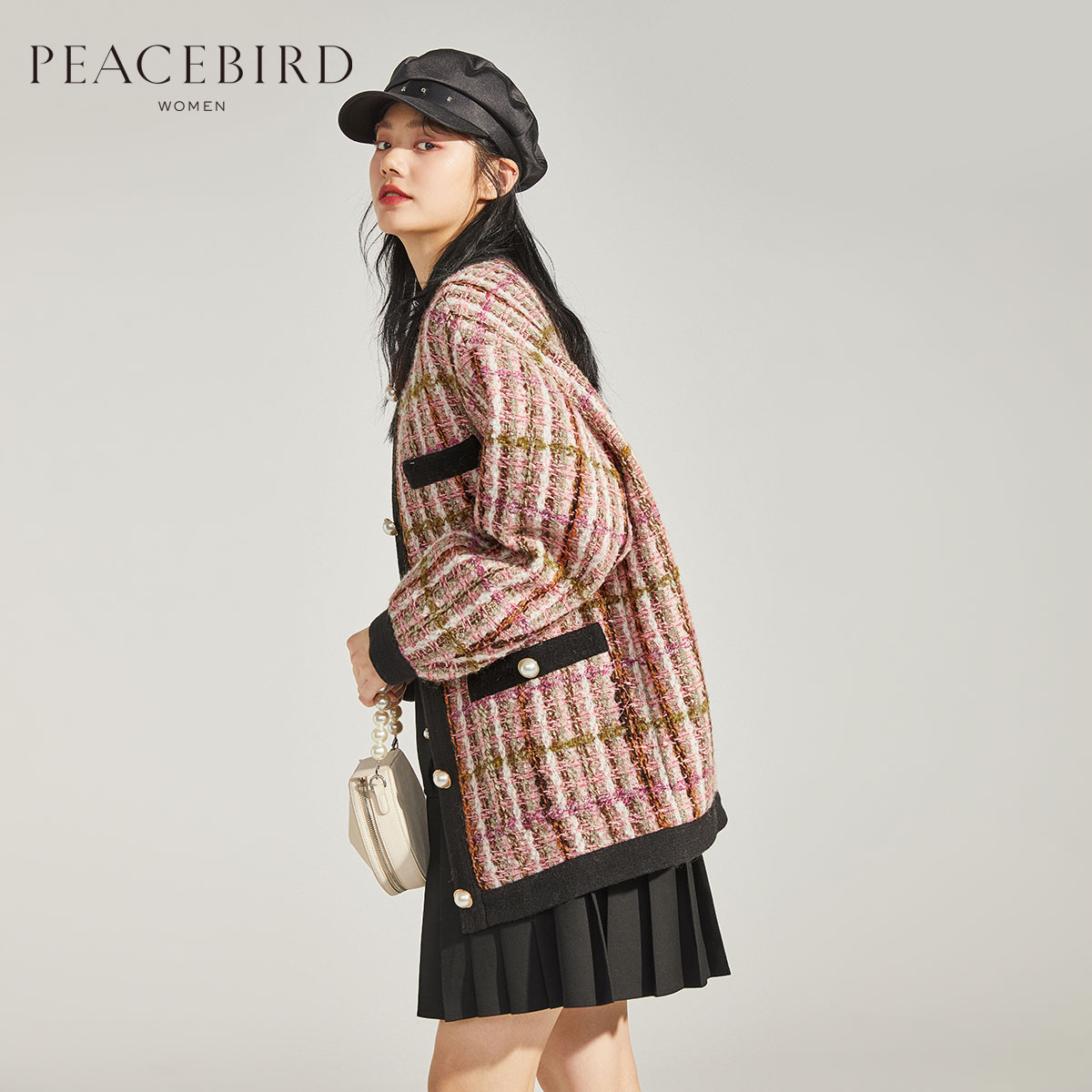 Taiping bird tweed plaid jacket female Korean version temperament autumn and winter 2019 new small fragrance small size overcoat female