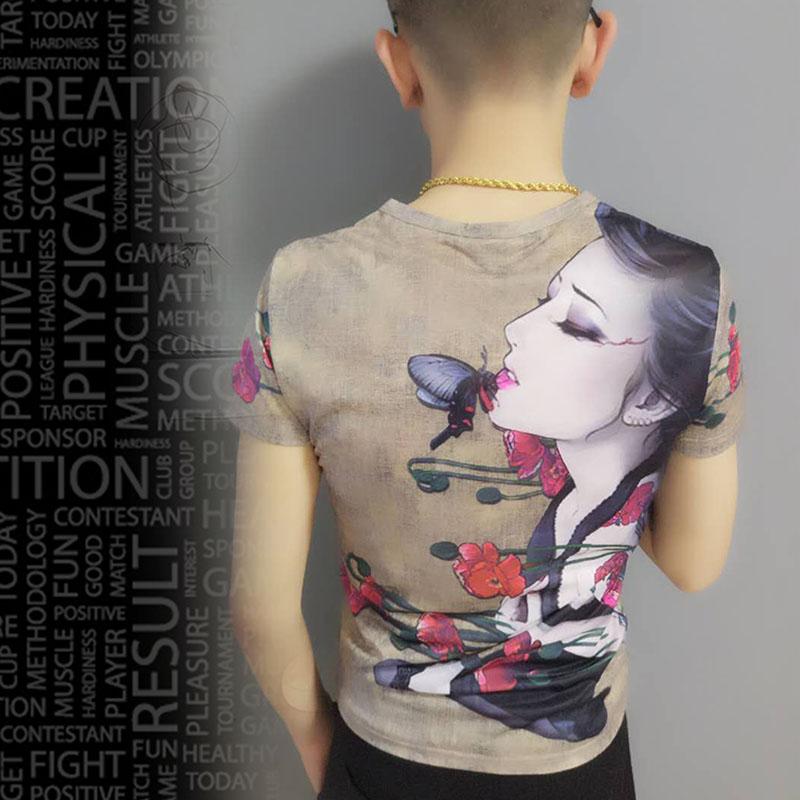 快手红人同款短袖男T恤社会精神小伙修身韩版半袖潮流时尚印花t恤图片